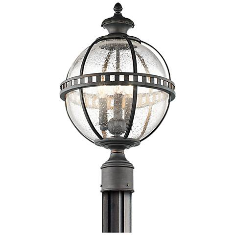 "Kichler Halleron 20 1/4""H Seedy Glass Outdoor Post Light"