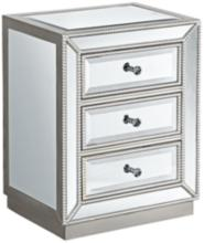 """Trevi 20"""" Wide 3-Drawer Mirrored Accent Table"""