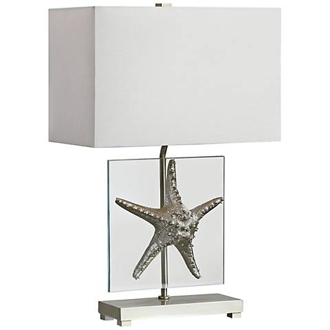 Uttermost Silver Starfish Glass Table Lamp