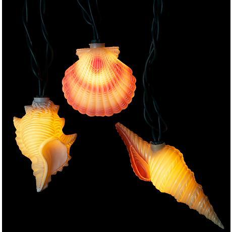Seashell String Lights Outdoor : Sea Shell Indoor-Outdoor 10-Light String Light - #8K126 Lamps Plus