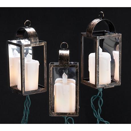 Antique Bronze White Candle Lantern 10-Light String Light