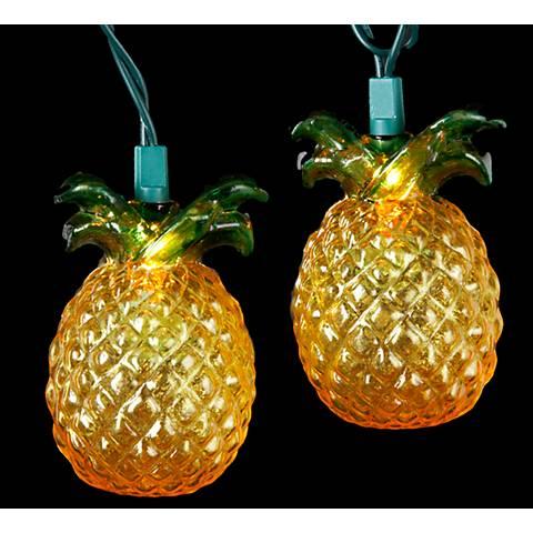 Golden Amber Tropical Pineapple 10-Light String Light