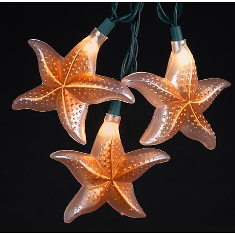Tidal Pool Orange Coastal Starfish 10-Light String Light