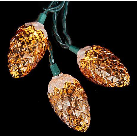 Breath of Mercury Frost Amber Pinecone 10-Light String Light
