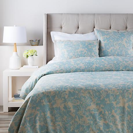 Surya Clara Blue Floral Linen Cotton Duvet Set