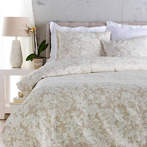 Surya Clara Neutral Floral Linen Cotton Duvet Set