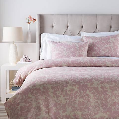 Surya Clara Pink Floral Linen Cotton Duvet Set