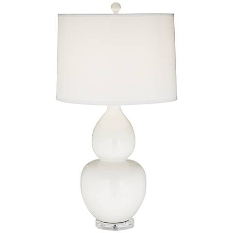 Contempo White Double Gourd Ceramic Table Lamp
