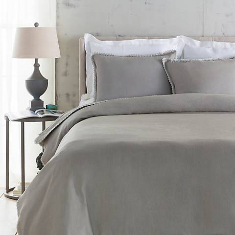 Surya Evelyn Gray Linen Duvet Set