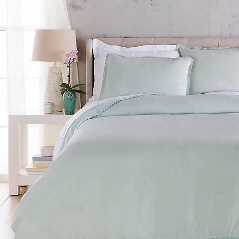 Surya Evelyn Blue Linen Duvet Set