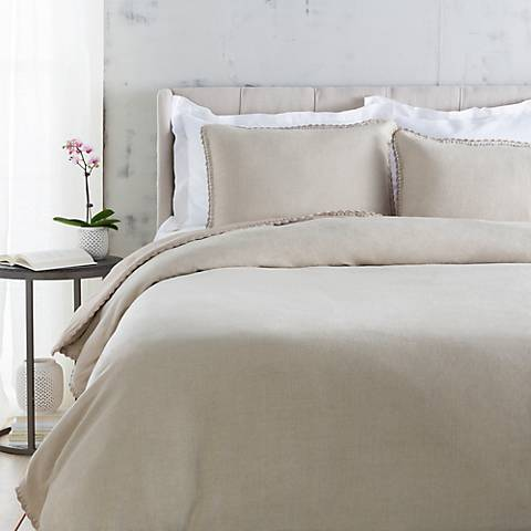 Surya Evelyn Neutral Linen Duvet Set