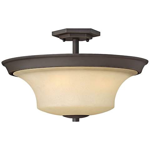 """Brantley 17"""" Wide Oil Rubbed Bronze Ceiling Light"""