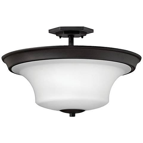 "Hinkley Brantley 17""W Textured Black Ceiling Light"