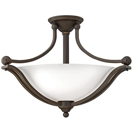 """Bolla 23 1/4""""W Bronze Ceiling Light w/ Etched Opal Glass"""