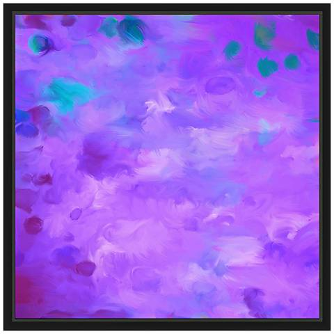 "Purple Dots I 21 3/4"" Square Framed Canvas Wall Art"