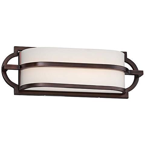 """Mission Grove 16"""" Wide LED Dark Brushed Bronze Bath Light"""