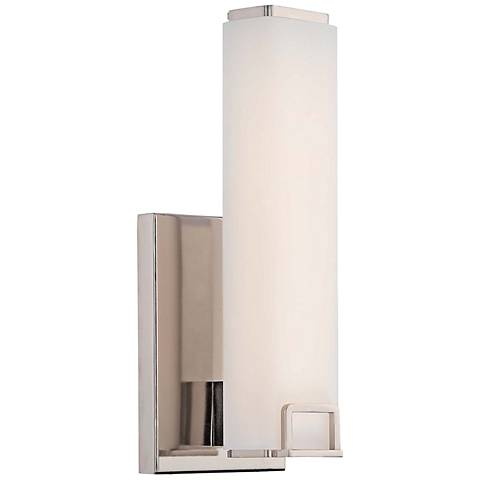 """Square 12 1/2"""" High Opal Polished Nickel LED Wall Sconce"""