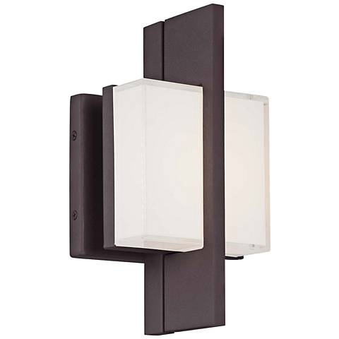 "Lynhaven 10""H Bronze Mitered Glass LED Outdoor Wall Light"