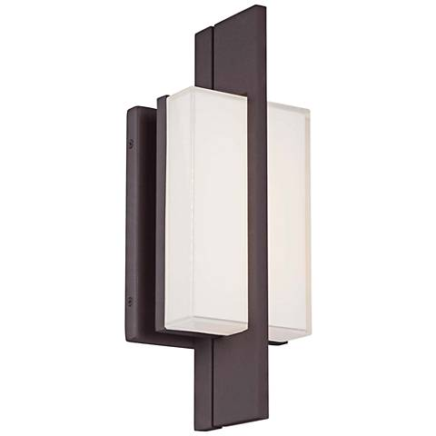"Lynhaven 14""H Bronze Mitered Glass LED Outdoor Wall Light"