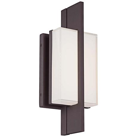 """Lynhaven 14""""H Bronze Mitered Glass LED Outdoor Wall Light"""