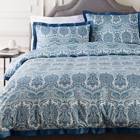 Surya Griffin Blue Damask Cotton Duvet Set