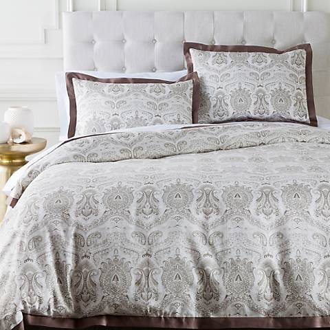 Surya Griffin Brown Damask Cotton Duvet Set