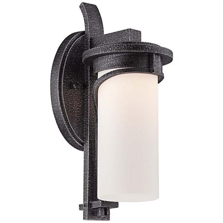 """Hollbrook 12 1/2""""H Stone Silver LED Outdoor Wall Light"""