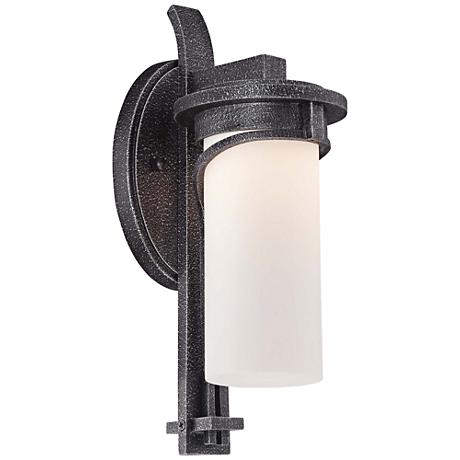 "Hollbrook 14 1/2""H Stone Silver LED Outdoor Wall Light"