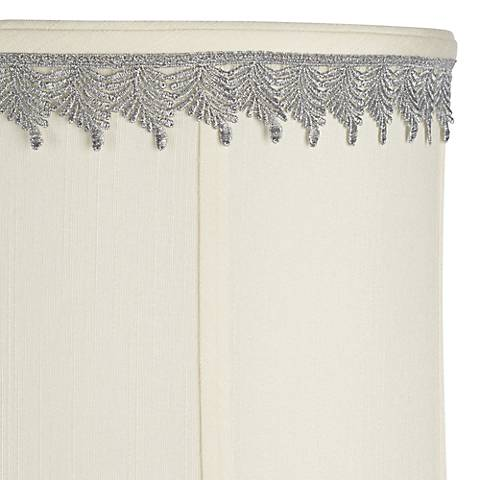 Metallic Silver Embroidered Leaf Lamp Shade Trim - 3 Yards