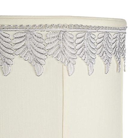 Metallic White-Silver Embroidered Leaf Shade Trim - 3 Yards