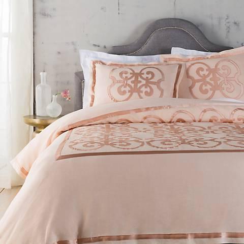 Surya Versaille Pink Linen Duvet Set
