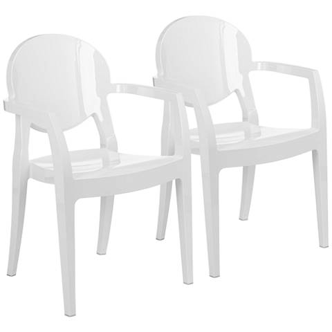 Colico Glossy White Indoor-Outdoor Armchair Set of 2