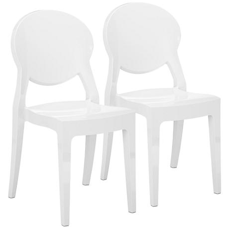 Canova White Indoor-Outdoor Side Chair Set of 2
