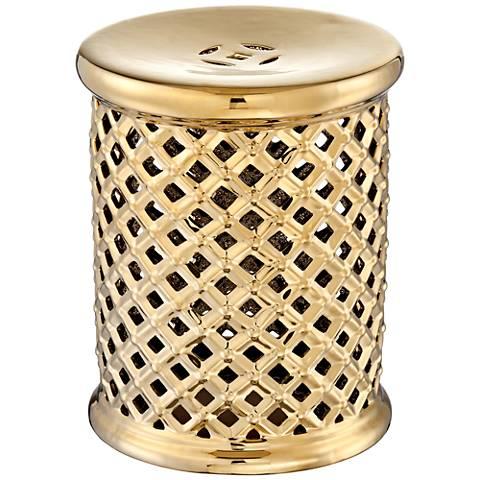 "Lazar Gold Metallic 17 3/4"" Ceramic Garden Stool"