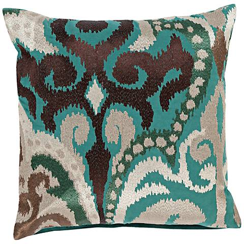 "Surya Radiant Swirl Blue and Silver 18"" Square Throw Pillow"