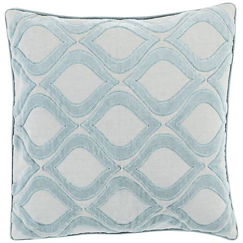 """Surya Seraphina Gray and Blue 18"""" Square Throw Pillow"""