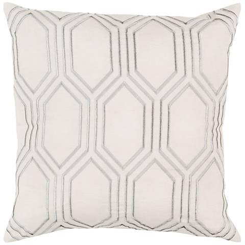 """Surya Skyline Diamond Ivory 18"""" Square Throw Pillow"""