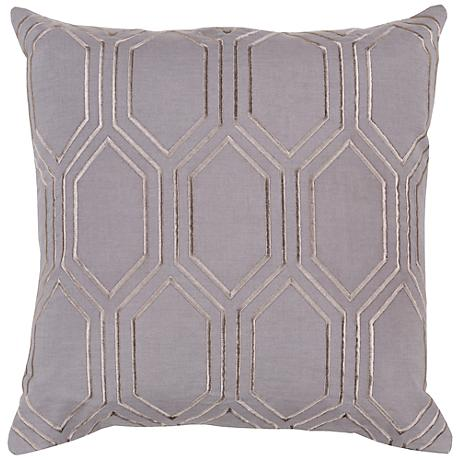 """Surya Skyline Diamond Gray 18"""" Square Throw Pillow"""