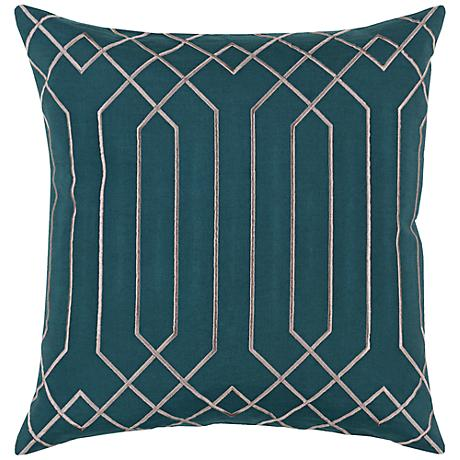 "Surya Skyline Pillar Teal Blue 18"" Square Throw Pillow"