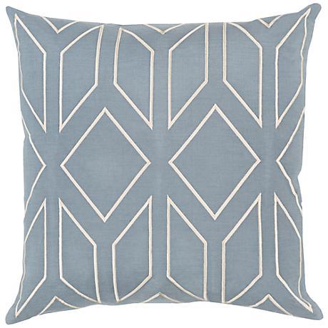 "Surya Skyline Arrow Moss Blue 18"" Square Throw Pillow"