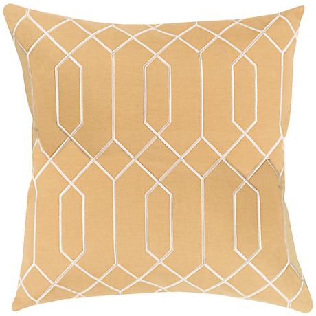 "Surya Skyline Interlock Gold 18"" Square Throw Pillow"