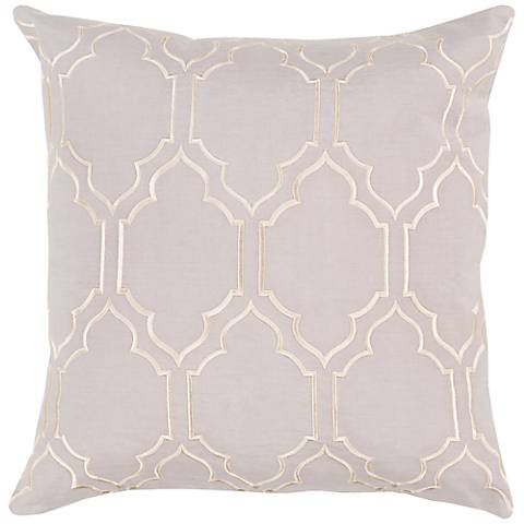 """Surya Skyline Trellis Light Gray 18"""" Square Throw Pillow"""