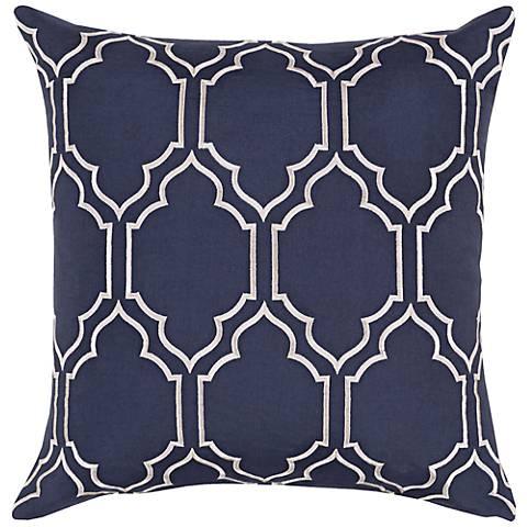 """Surya Skyline Trellis Navy Blue 18"""" Square Throw Pillow"""