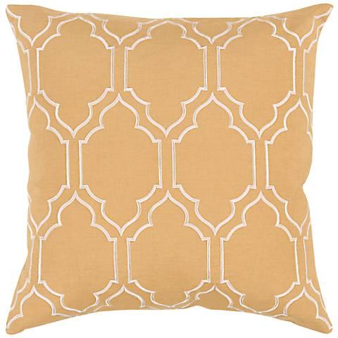 "Surya Skyline Trellis Gold 18"" Square Throw Pillow"