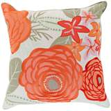 "Surya Flawlessly Floral Orange 18"" Square Throw Pillow"
