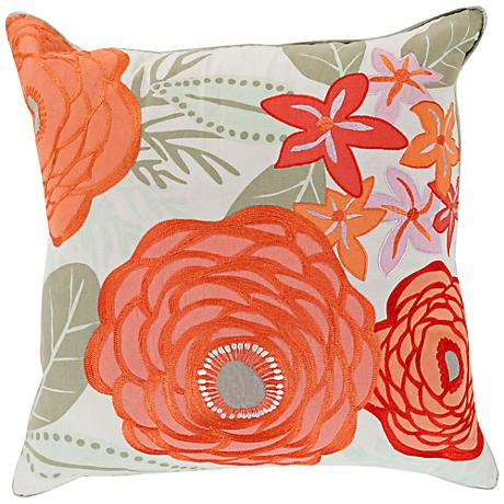 """Surya Flawlessly Floral Orange 18"""" Square Throw Pillow"""