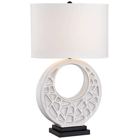 Crescent Moon White Ceramic Table Lamp