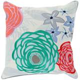 "Surya Flawlessly Floral Green 18"" Square Throw Pillow"