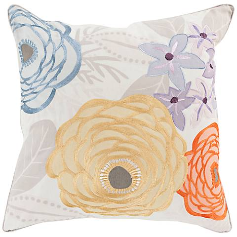 "Surya Flawlessly Floral Yellow 18"" Square Throw Pillow"
