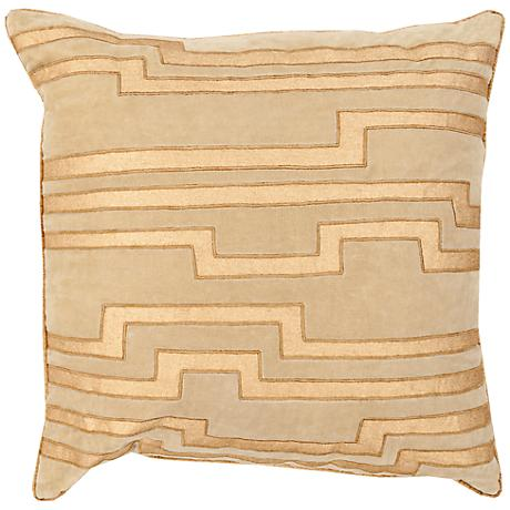 "Surya Charming Key Print Neutral 18"" Square Throw Pillow"